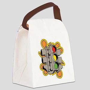 Urban Traffic Light Design. Canvas Lunch Bag