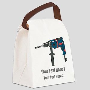 Power Drill. Custom Text. Canvas Lunch Bag