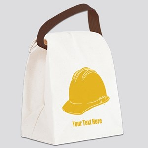 Workers Hat. Your Text. Canvas Lunch Bag