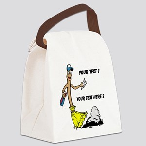 Cleaning Brush. Black Text. Canvas Lunch Bag