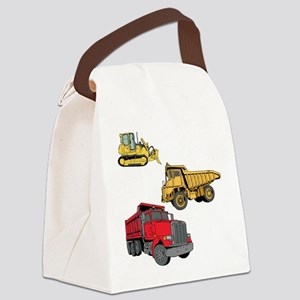Construction Site Vehicles. Canvas Lunch Bag