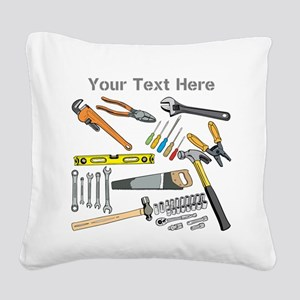Tools with Gray Text. Square Canvas Pillow