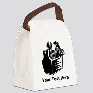 Tools. Black Text. Canvas Lunch Bag