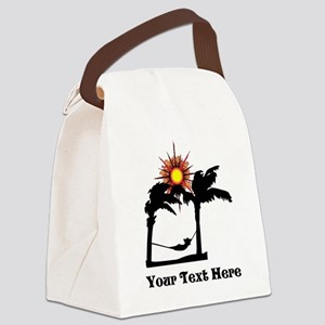 Palm Trees and Black Text. Canvas Lunch Bag