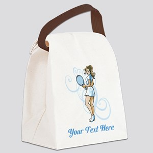 Female Tennis Player. Text. Canvas Lunch Bag