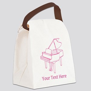 Pink Piano and Custom Text. Canvas Lunch Bag