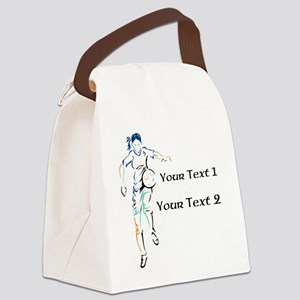 Womens Soccer. Custom Text Canvas Lunch Bag