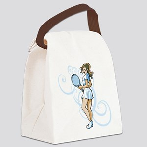 Girl Tennis Player. Canvas Lunch Bag