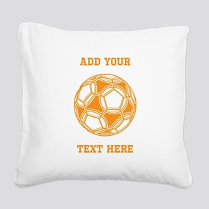 Soccer Ball. Orange Custom Text Square Canvas Pill