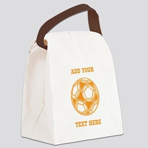 Soccer Ball. Orange Custom Text Canvas Lunch Bag