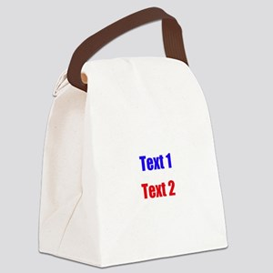 Blue and Red Custom Text. Canvas Lunch Bag