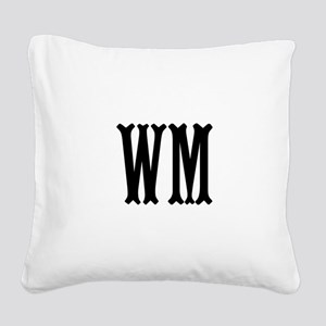 Black Initials. Customize. Square Canvas Pillow