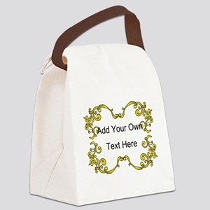 Gold Color Scrolls, Custom Text Canvas Lunch Bag