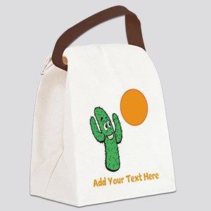 Cacti in the Sun. With Text. Canvas Lunch Bag