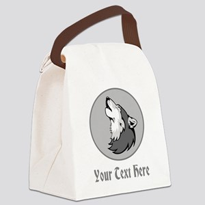 A Wolf Howling. Gray Text. Canvas Lunch Bag
