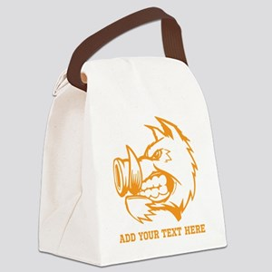 Orange Wild Pig and Text. Canvas Lunch Bag
