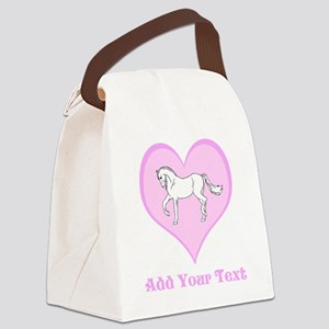 Horse and Pink Heart and Text. Canvas Lunch Bag