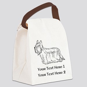 Skye Terrier. Custom Text Canvas Lunch Bag