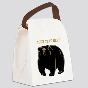 Big Bear with Custom Text. Canvas Lunch Bag