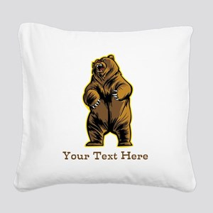 Bear. Custom Text. Square Canvas Pillow