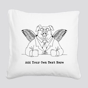 Flying Pig in Suit. Custom Text Square Canvas Pill