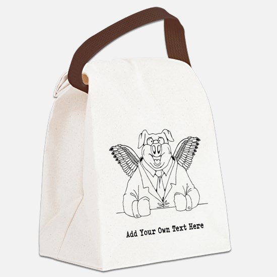Flying Pig in Suit. Custom Text Canvas Lunch Bag