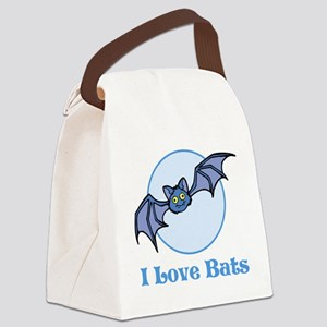 I Love Bats, Cartoon Canvas Lunch Bag