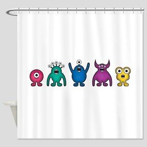 Kawaii Rainbow Alien Monsters Shower Curtain