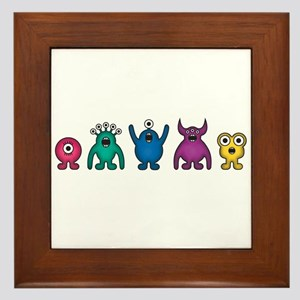 Kawaii Rainbow Alien Monsters Framed Tile