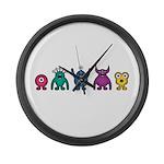 Kawaii Rainbow Alien Monsters Large Wall Clock
