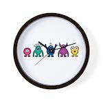 Kawaii Rainbow Alien Monsters Wall Clock