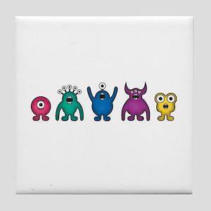 Kawaii Rainbow Alien Monsters Tile Coaster
