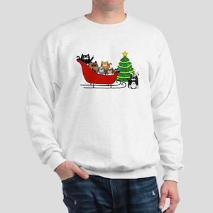 6 Kitty Cat, Sleigh Christmas Tree - Sweatshirt