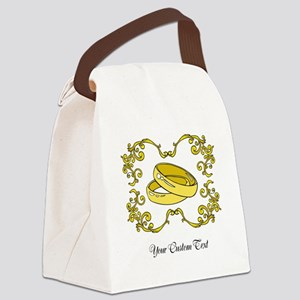 Wedding Rings. Custom Text Canvas Lunch Bag