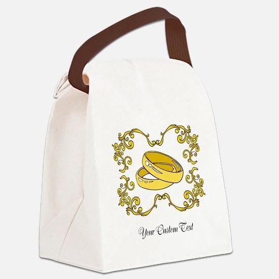 Wedding Rings. Custom Text Canvas Lunch Bag