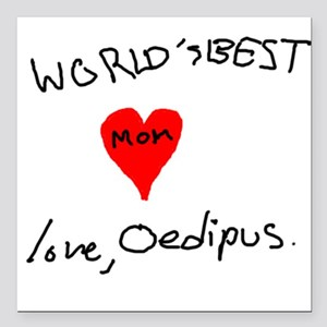 World's Best Mom love Oedipus Square Car Magnet 3""