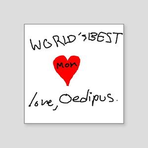"World's Best Mom love Oedipus Square Sticker 3"" x"