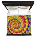 Crazy Yellow Fractal Art Pattern King Duvet