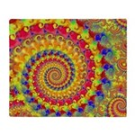 Crazy Yellow Fractal Art Pattern Throw Blanket