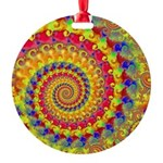 Crazy Yellow Fractal Art Pattern Round Ornament
