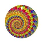 Crazy Yellow Fractal Art Pattern Ornament (Round)