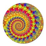 Yellow Fractal Pattern Round Car Magnet