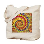 Crazy Yellow Fractal Art Pattern Tote Bag