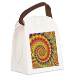 Crazy Yellow Fractal Art Pattern Canvas Lunch Bag
