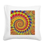 Yellow Fractal Pattern Square Canvas Pillow