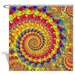 Crazy Yellow Fractal Art Pattern Shower Curtain