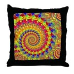 Crazy Yellow Fractal Art Pattern Throw Pillow