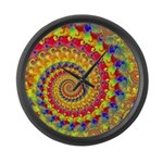 Crazy Yellow Fractal Art Pattern Large Wall Clock