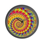 Crazy Yellow Fractal Art Pattern Wall Clock