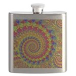 Crazy Yellow Fractal Art Pattern Flask